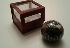 World Globe paperweight Mother of Pearl Inlaid with original display case
