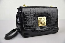 Di Gregorio 767 Black Croc Embossed Patent Leather Crossbody Bag Made in Italy