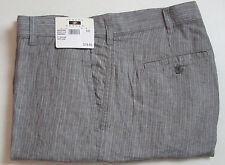 $79 New Jos A Bank JOSEPH ABBOUD Linen flat front shorts in Grey stripe  33 W