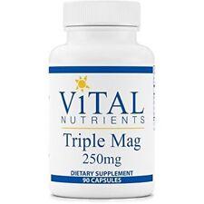 Vital Nutrients - Triple Mag 250 mg - Magnesium - 2 Bottles - 90 Capsules each