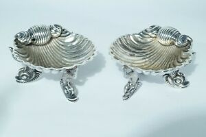 1879-1888 Pair Victorian Sterling Silver Shell Design Salts - Hillard & Thomason