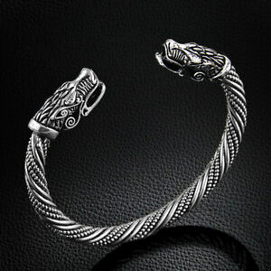 Solid Viking Dragon Odin's Twist Stainless Steel Norse Cuff Bangle Mens Bracelet