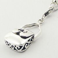 Silver charm ajoure 925 sterling handbag charm w lobster clasp 35mm height trend