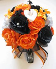 17 piece Wedding Bouquet Silk Flower Package Bridal ORANGE BLACK SILVER Calla