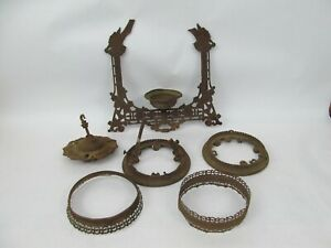 Antique Victorian Cast Iron Horse Pull Down Hanging Oil Lamp Holder for Restore