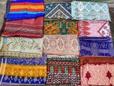 Lot Of 15 Vintage Indian Saree Silk Blend Fabric Craft Used Art Multi color Sari