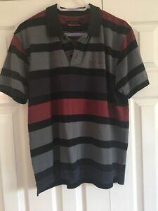 Pierre Cardin Black Grey Red Striped Polo Shirt Size L
