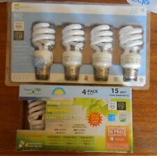 Lot of 8 Mini Spiral 15w CFL Light Bulb . 2700K. 935 Lumens . 60 Watts. Ecosmart