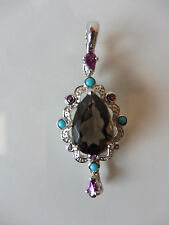 Very Nice Pendant __925 Silver with Polished Stones and Turquoise Beads __