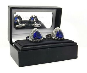 Triangle Cufflinks with Sapphire Blue swarovski crystal personalised mens gift