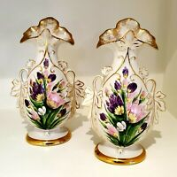 VINTAGE HAND PAINTED VASES ETON CHINA PAIR OF TWO FLORAL VASES 13 INCHES TALL