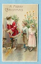 "HTL 47 Postcard Hold to Light  ""A Merry Christmas""  Santa and Children, Toys"