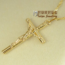 18CT YELLOW Gold Plated Crucifix CROSS Pendant NECKLACE