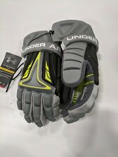 "Under Armour Nexgen Lacrosse Gloves Gray/Lime Green Medium 9"" Nexglm-M-Gry"