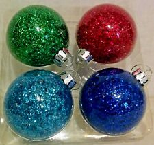 """Christmas Shoppe Handcrafted Blown Glass Ornaments Blue Green Teal Magenta 3"""""""
