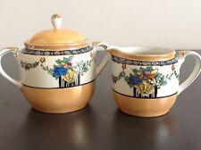 Noritake Vintage Hand Painted Creamer Matching Sugar Bowl Japan Peach Lustre