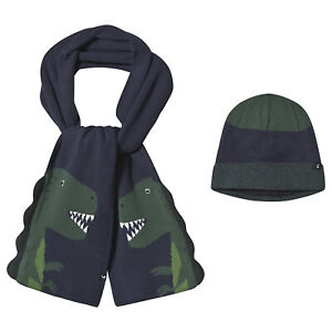 JOULES BRAND NEW BOY'S REX HAT AND SCARF SET NAVY DINOSAUR 2 SIZES FREE POSTAGE