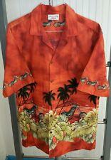 Hawaiian Motorcycle Chopper Beach Aloha Shirt Mens XXL Orange Pacific Legend USA