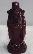 Cast Resin Carved Wood Effect Japanese Chinese Sage / Wise Man Figurine Ornament
