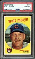 1959 Topps BB Card #488 Walt Moryn Chicago Cubs PSA NM-MT 8 !!!!