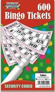 600 Jumbo Bingo Tickets Book Games Tallon Games Raffle Brand New Bingo Tickets