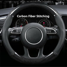 1Pcs Carbon Fiber Stitching Leather Steering Wheel Cover Non-slip 15 inch 38cm