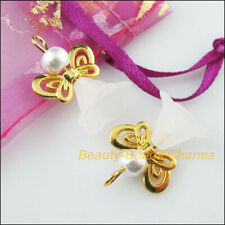 8Pcs Gold Plated Wings Dancing White Angel Charms Pendants 17.5x24mm