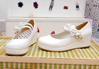 Hot Womens Platform Wedge Mary Jane Bow Lolita Candy Creepers Pump Shoes Plus SZ