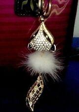 Fashion Crystal Rhinestone Fox With Fur 3D Purse Charm Key Chain Key Ring