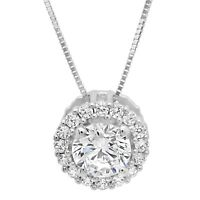 """1.5ct Round Cut Solitaire Halo Pendant Necklace Solid 14k White Gold + 16"""" Chain"""