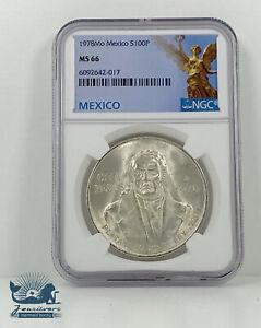 NGC MS66 Silver 1978 Mo Mexico 100 Pesos