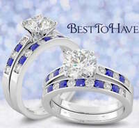 925 Sterling Silver Ladies Blue Sapphire Wedding Engagement Ring Set - 2 rings
