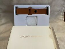 LovLeop Brown Leather Strap  smart watch w Face Cover 42 MM - 44MM New open box