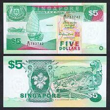 1997 SINGAPORE SHIP 5 DOLLARS P-35 UNC