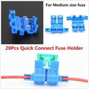 20Pcs Car Fuse Holder Quick Connect Fuse Socket -Medium Fuse Fast Installation