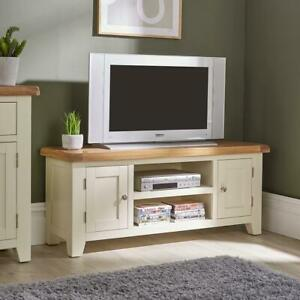 Modern White Solid Wood 2 Door TV Plasma Unit Stand 120cm Cable Management