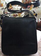 Coach Classic Black Leather Messenger Cross Body Bag Purse 9335 EUC.