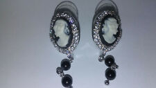 cameo earrings cubic zirconia sterling silver black onyx gift boxed NWT
