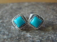 Native American Sterling Silver Square Turquoise Post Earrings! H.Largo