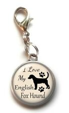 Clip On Charm I Love My English Fox Hound Dog Dangle Charm Lobster Claw Clasp