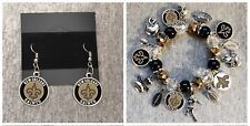 NFL New Orleans Saints earring and bracelet set