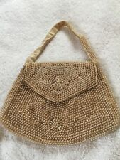 White Rice Pearl and Round Pearl Small Beaded Purse Vtg 1950's