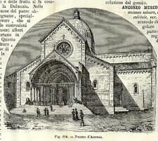 Stampa antica ANCONA Veduta del Duomo Marche 1889 Old antique print