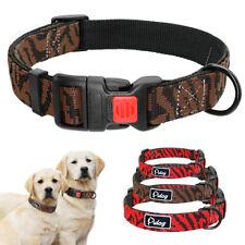Nylon Dog Collar Brown Red Lockable Soft Padded Small Large Adjustable Labrador