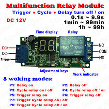DC 12v LED Display Cycle Delay Timing Timer Time Relay Switch Turn ON/OFF Module