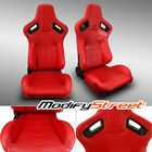 2 X Reclinable Red Pvc Leather Leftright Sport Racing Bucket Seats