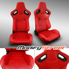 2 x RECLINABLE RED PVC LEATHER LEFT/RIGHT SPORT RACING BUCKET SEATS