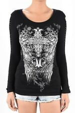 Sexy Top Large Black Long Sleeve White Cross Wings Rhinestones Tattoo Biker Goth