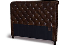 Queen Chesterfield Genuine Leather Headboard, Button Diamond tufting & Nailheads