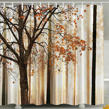 Shower Curtain maple Tree Design Fabric Waterproof Bathroom Polyester 12 Hooks